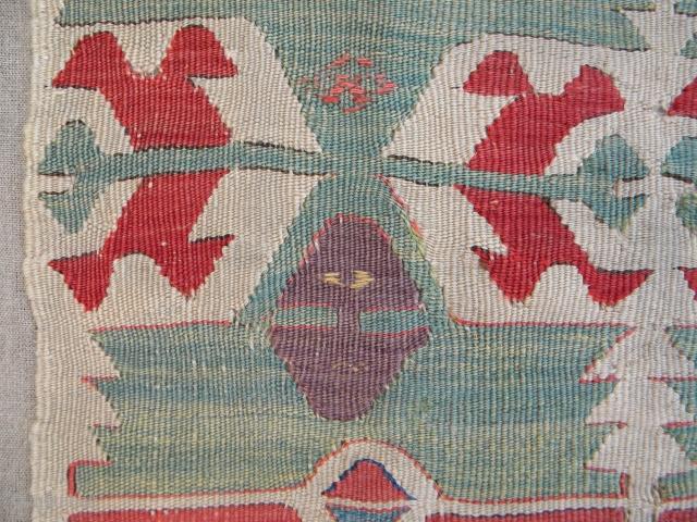 Lots of beautiful colours - anatolian kilim fragment, 205 x 52 cms, professionally mounted on linen.
