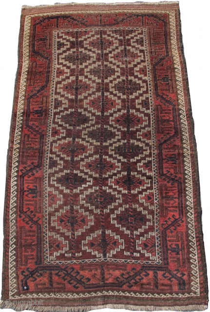 """aubergine ground Baluch rug with an asmalyk design field, 3'0""""x5'0""""  https://www.peterpap.com/product/baluch-rug-38/"""