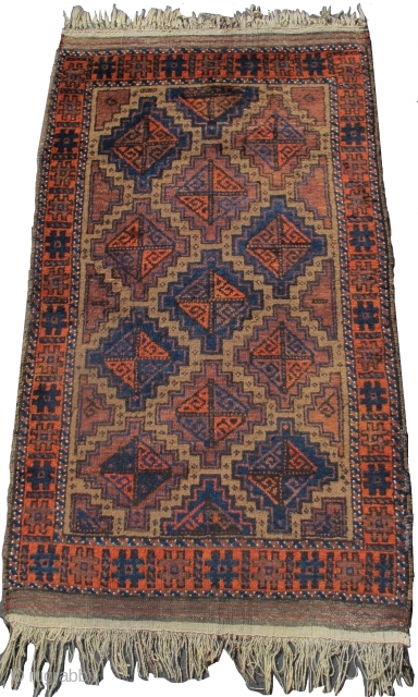 """Baluch rug, camel ground, probably Arab group, 2'10""""x5'0""""  https://www.peterpap.com/product/baluch-rug-40/"""