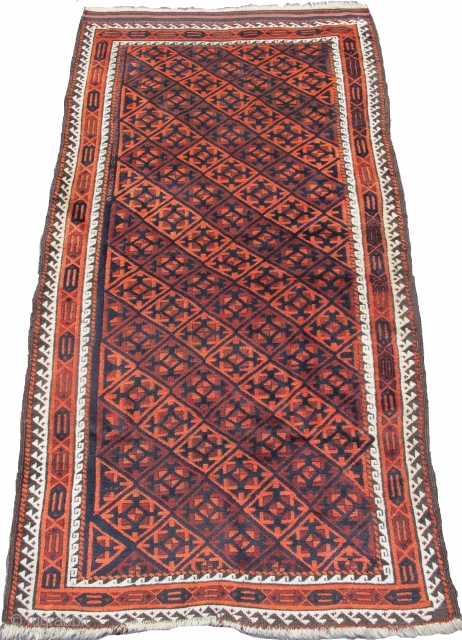 "Baluch rug with a tile design, great wool, 3'2""x5'7""