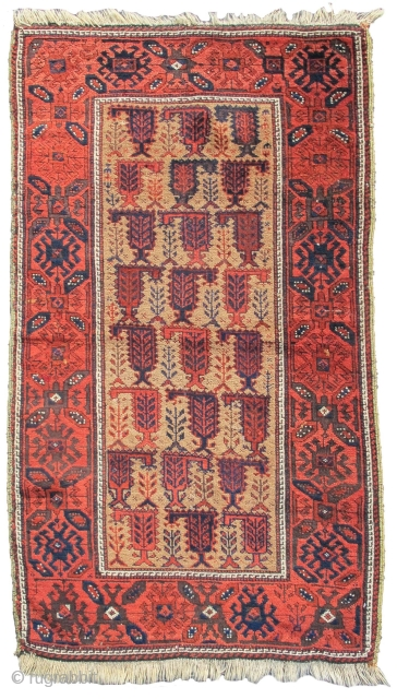 "Baluch rug, camel ground with botehs, 2'10""x4'8""