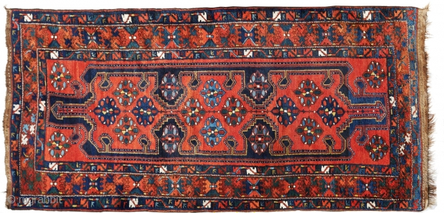 1920 Luri rug that is in nearly perfect condition Unusual and beautifully executed in all wool and organic dyes. The top fringe -  a horizontal braided fringe finish; bottom : fringe-less  ...