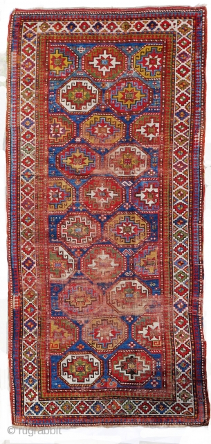 Moghan Kazak circa 1880 chic&shabby 288x125cm Notice the unusual tile pattern as opposed to the classic parallel columns design
