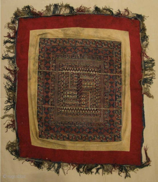 "Antique Bhutanese ceiling canopy ""Tikhep"" worked in brocaded cotton and raw silk in polychrome colors.The central motif is a Buddhist double swastika (yudrung). The central textile is mounted in a frame of  ..."