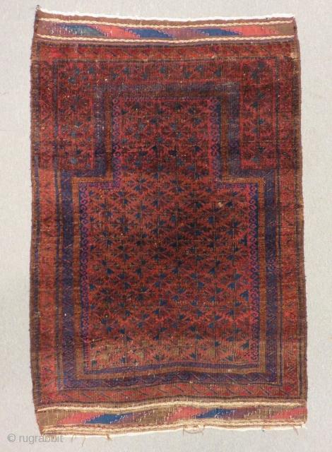 Antique Baluch Prayer Rug Size.130x90 Cm