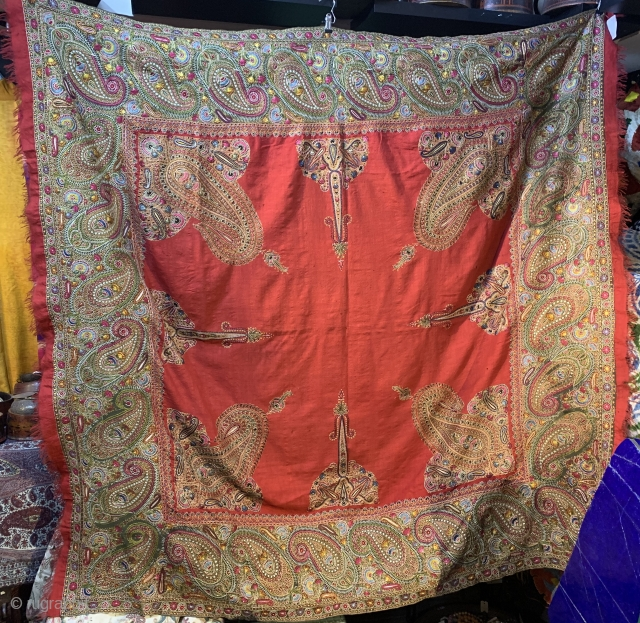Exceptional Antique indian shawl embroidered rare red color