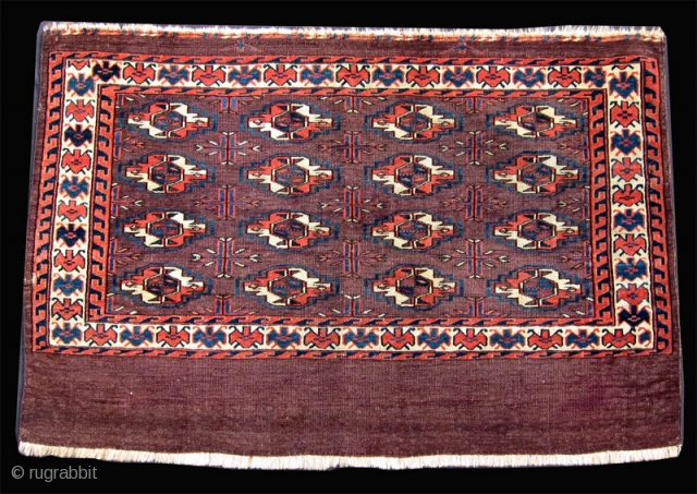 "Mid-19th C. Yomud chuval, 2'6"" x 3'7"".  Classic old 16 gul chuval. Small repair on one edge.  SOLD"