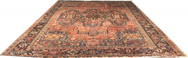 Antique 11' x 15' Persian Heriz, is in good condition. shows minor wear. both ends are intact.I'm selling it at the veru special low price of $4250.00