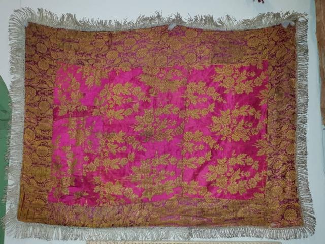 Hundred years old zari bafi textile,silk With silver threads