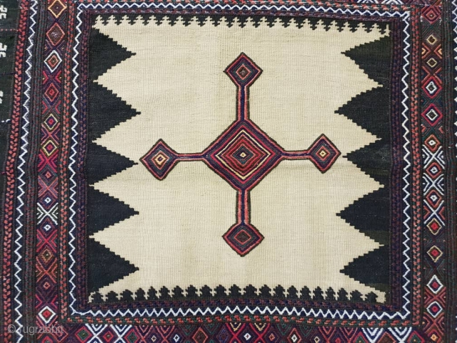 Fascinating  baluch sofreh with  hypnotic cross medallion, patterns are needlework,endings are perfectly oriented