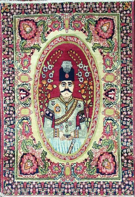 Illustrious kerman rug depicting NASER EL-DIN SHAH king of qajar, state of preservation is almost good except minor area that piles are a bit shorter  Size 82 * 58 cm