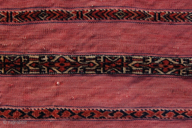 """Very fine antique Tekke Turkoman ala (red) chuval 113 x 66 cm (3ft 9"""" x 2ft 2"""") 2nd third 19th century. All natural dyestuffs, colours: red, pinkish red, dark blue, greenish blue,  ..."""