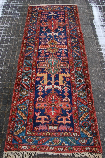 "Antique robust weave Heriz runner 251 x 97 cm (8ft 4"" x 3ft 3"") 1st half 20th century. All natural dyestuffs. Condition: very good, full to medium pile, original selvedges in very  ..."