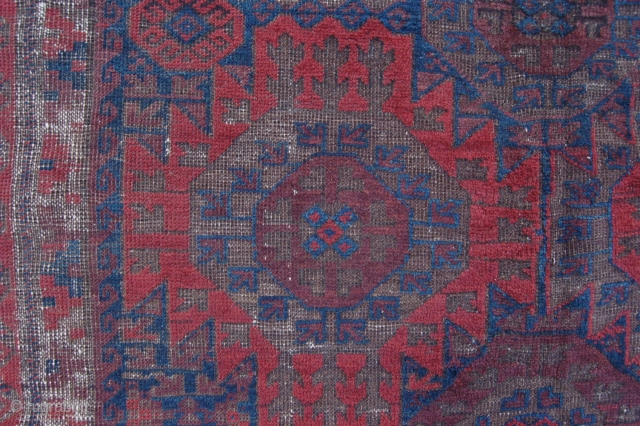 """Pre 1900 antique Baluch main rug 289 x 184 cm (9ft 8"""" x 6ft 2"""") 19th century. All natural dyes, colours: red, red brown, brown (corrosion), dark brown, dark blue, white. condition:  ..."""