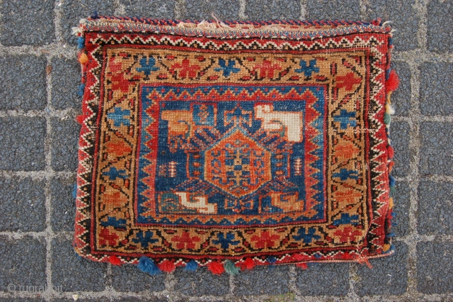 """Antique Tribal Afshar bag 38 x 29 cm (1ft 3"""" x 1ft) 19th/20th century Natural  dyestuffs (and 1 slightly tipfading chemical(?) red). Condition: good, good evenly low pile (very minor wear),  ..."""