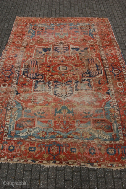 "Antique Serapi Heriz 376 x 267 cm (12ft 6"" x 8ft 11"") 1880 or before. Condition as found, low pile allover with wear and 2 places with heavy wear(see pics), original sides  ..."