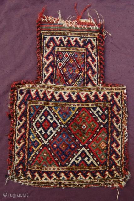 "Antique Caucasian/Kurdish Saltbag 47 x 33 cm (1ft 7"" x 1ft 1"") last quarter 19th century. All natural dyestuffs, colours: dark blue, blue, red, brown, white, green yellow, dark brown, purple (cochenille).  ..."
