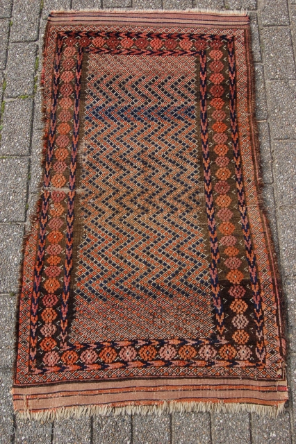"Antique tribal Baluch prayer rug 129 x 73 cm (4ft 4"" x 2ft 5"") 19th century. All natural dyes. Condition: as shown, medium to low pile all over with some places of  ..."