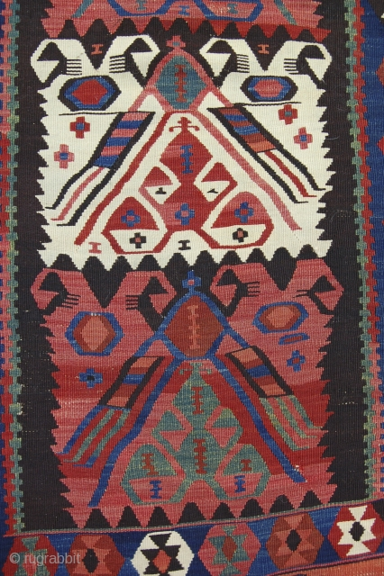 "4'2"" x 12'6"" East Anatolian kelim, possibly somewhere between Erzurum and Kagizman. Great color, decent condition, recently cleaned."
