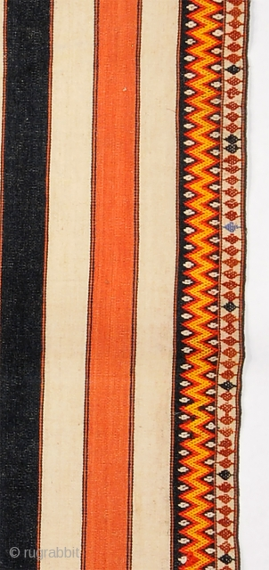 Kachin opened tube skirt - Myanmar (Burma)  Collected in 1990 in Burma Cotton striped cloth with wool and cotton brocading  Circa 1950-1960. Very good condition - vibrant colors  29 x 60 inches (77  ...