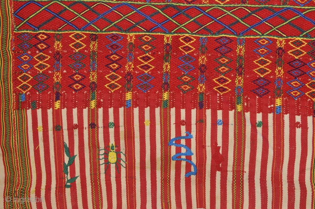 Colotenango Huipill, from Western Highlands Guatemala,  Huehuetenango state. - collected 1972 - vintage circa 1940 Germantown red thread Soumak warp wrap brocade technique  Unique embroidered signature motifs.  Excellent condition  ...