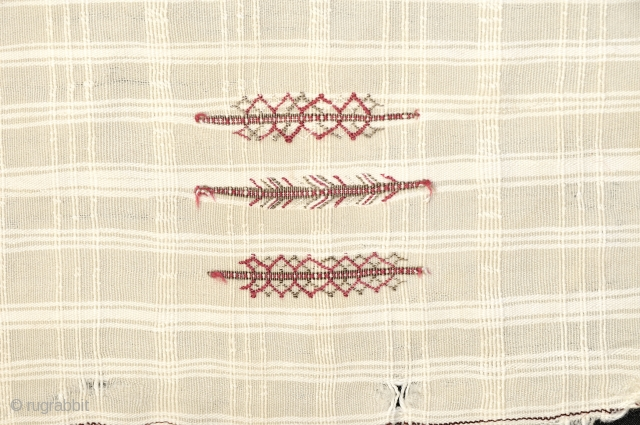 Exceptional and Rare small girl/woman's  Haik  from Morocco - Southern region around Tafroute.  19th century and incredibly fine spinning to wool cloth - almost transparent light weave with spare  ...