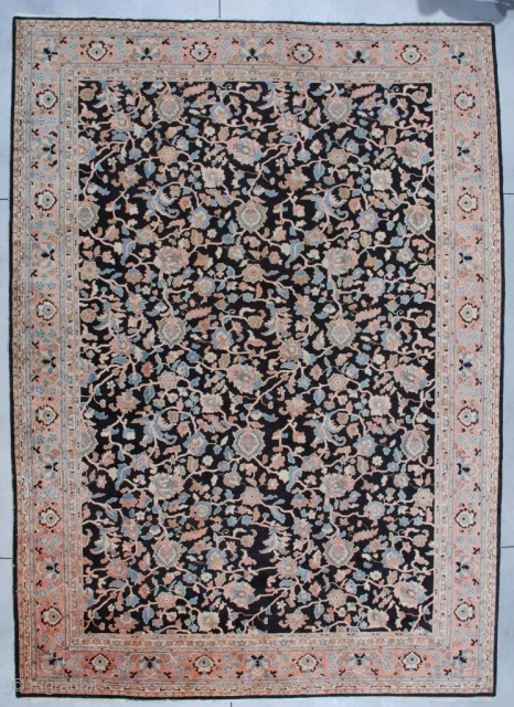 """#7116 Antique Agra Rug from India This Agra measures 11'1"""" x 15'3"""". It has a black background with a vine and tendril design in   coral, very pale sky blue, ivory and  ..."""