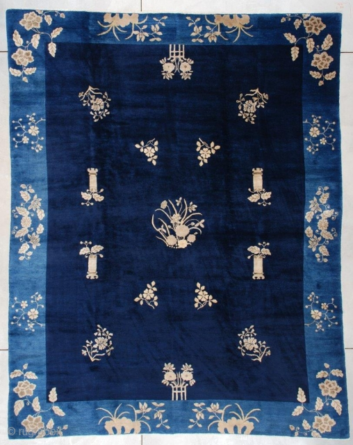 """#7442 Antique Peking Chinese Rug This third-quarter 19th-century Peking Chinese Oriental rug measures 9'0"""" x 11'6"""" (274 x 353 cm). This stunning antique Peking Chinese carpet has absolutely got it all! It has  ..."""