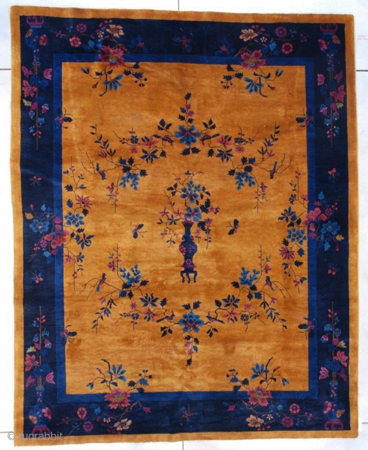 "This circa 1925 Mandarin Art Deco Chinese rug measures 7'9"" x 9'9"" ( 240 x 301 cm). It has a gold colored field, the same color as a gold coin. There is  ..."