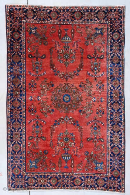 #7526 Antique Fereghan Sarouk Persian Rug 4'2″ x 6'4″