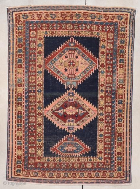 "Antique Shirvan Oriental Rug 3'11"" x 5'8"" #7854 $2,500.00 Age: circa 1890 https://antiqueorientalrugs.com/product/antique-shirvan-oriental-rug-311-x-58-7854/"