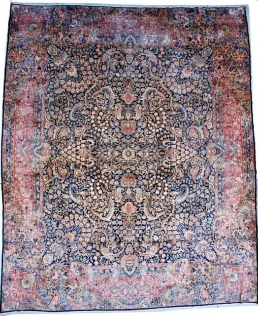 """#7496 Laver Kerman  This circa 1920 Laver Kerman measures 13'0"""" X 15'6"""" (396 x 481 cm). This magnificent Laver Kerman is sometimes referred to as a 'crowded Kerman' for obvious reasons. This palace  ..."""