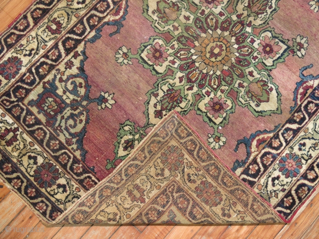 Antique Lavar Kerman.  Has some low areas more towards center.  Measures 3'3''x4'8''