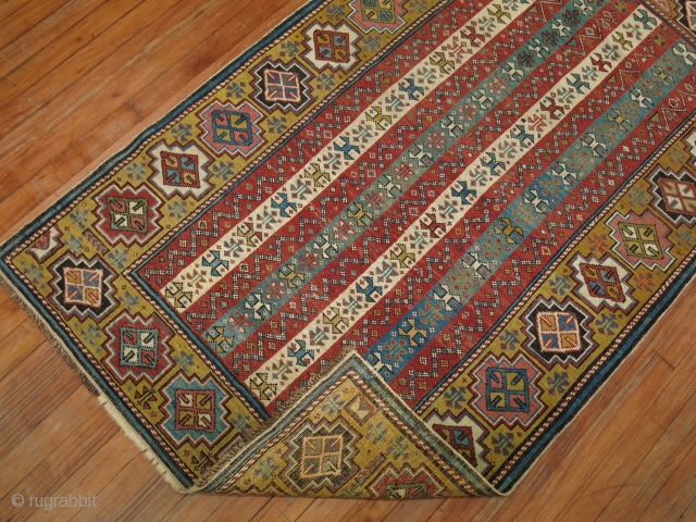 Decoraive Caucasian Shirvan.  Maybe Gendje.  3'5''x5'7''.  Has some minor low areas.