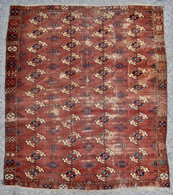 Early Tekke Turkmen Main carpet possibley circa 1700 7'2 x 8'5 / 220 x 260 cm.