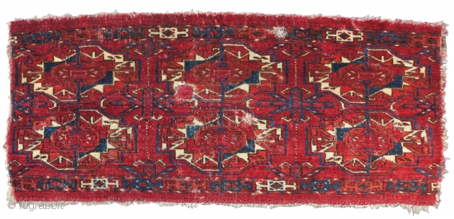 Six Gul Tekke Torba, Gorgeous honest earlier example with velvety pile, great wool quality, and color. Obvious condition issues.