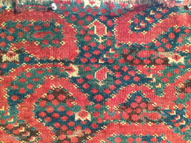 Antique Beshir fragment. Many great and early fragments have appeared in this format from Tibet  a suitable size for a monk's chamber. This has great colours fine weave gorgeous in the  ...