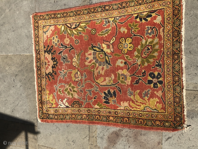 Wagireh, 1.35m x 1.02m, wear on all corners, sold as seen / no repairs.
