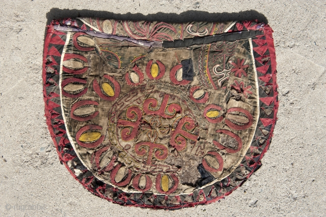 Kirgiz, dish bag,hung on the wall in a Yurt, silk,cotton,felt, embroidery, circa 1900