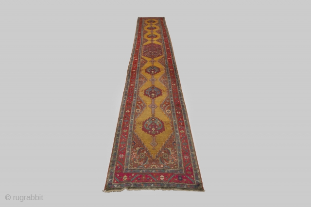 Antique Karabagh Runner 650x112cm. A small area of low pile but a beautiful ground colour.