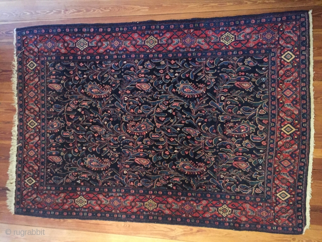 Antique Senneh rug northwest Persia with paisley leaves and  buds & tendrill allover , very good condition for collection or flooring a perfect rug for botanical garden lovers late 19th Century  ...