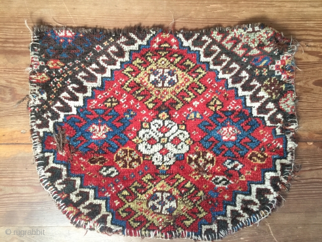 Antique Khamseh,Luri Persian tribal up-cycled saddle cover  Velvet touch,shiny wool warp threads dark brown hair  Size 48 cm x 37 cm