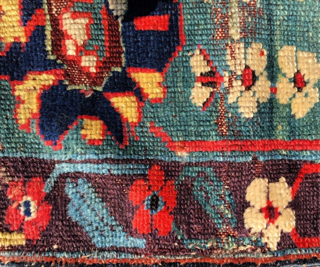 Mid 18th  century Kurdish rug fragment  unique and rare 