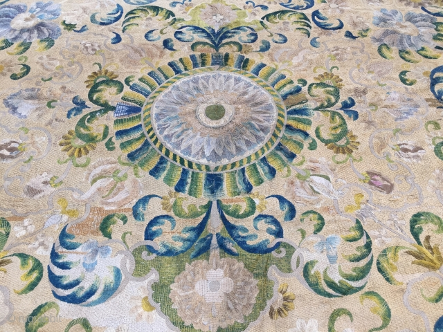 17th Century Italien / Spain Silk embroidery on canvas please contact for future information