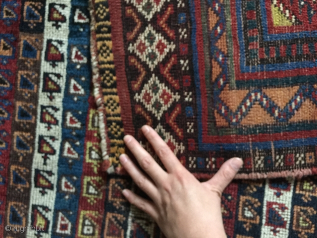 Unusual late 19th century striped Luri qashqai South West Persia Fars , Orginal ends and sides, no restoration been done  Highlight: Kilim ends with brocade / 9 knots Cotton pile dyed (protection  ...