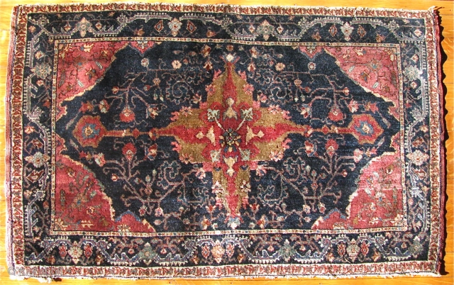 """1' 11"""" X 3' 1"""" Mishan Malayer with silk highlights @ center and in very good pile condition.  The bottom guard border completely professionally restored.   Free Ship/U.S.  3 day  ..."""