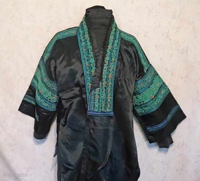 """Antique Traditional Chinese Miao Ethnic Minority festival jacket... pre 1940 The embroidery technique is called """"daizi"""" which is a complex system of loops and knots... This technique was explained to me back in the 90's  ..."""