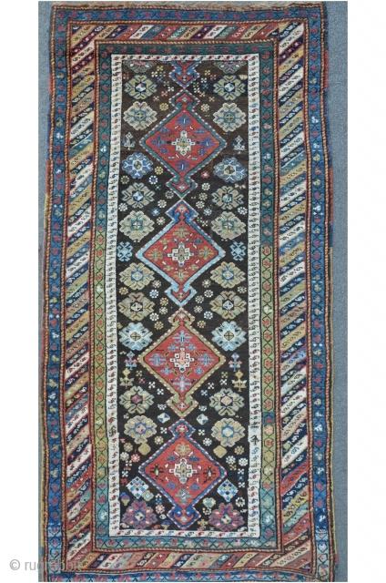 Karabagh / Kurdish carpet, fragmented. 240 x 113 cm, beautiful shiny colors.