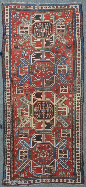 "Nice example of a Karabagh ""Animal Kasak"" 264 x 119 cm, late 19th C. some restoring's incl. small reknotted areas."