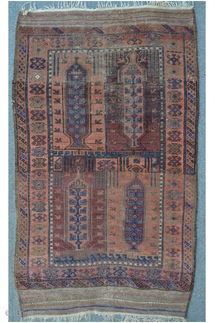 Baluch, 201 x 117 cm, rare design with beautyful colors, equal thin floor, last Q.19th.